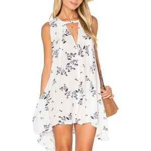 Free People White Floral Tree Swing Tunic Top